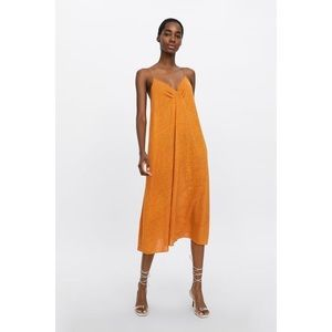 NWT Zara Orange Linen Dress Maxi / Midi